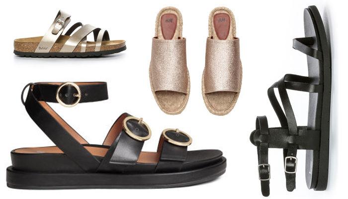 Guldiga remtofflor 599 kr, Betula/Nilson shoes, svarta sandaler med grov sula 249 kr, H&M, espadrilltofflor 249 kr, H&M och remsandaler 499 kr, Din Sko.
