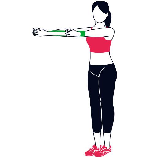 Modellen står med gummibandet runt handlederna och håller armarna framför sig.
