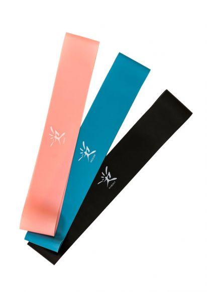 Våra gummiband – även kallade minibands –kommer i tre olika färger som alla har olika motstånd.