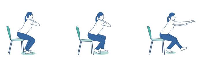 Leg bending exercise against osteoarthritis.