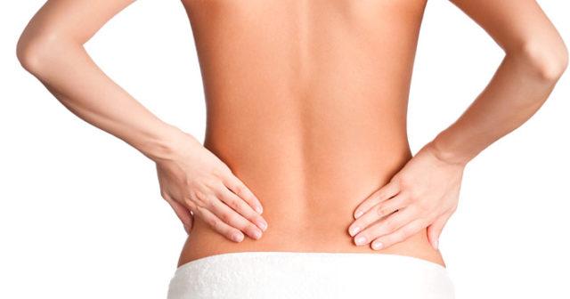 ont nedre delen av ryggen vänster sida