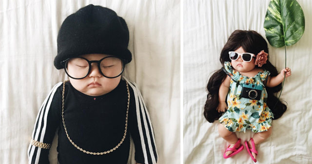 Hon klär ut sin 4 månaders bebis medan den sover