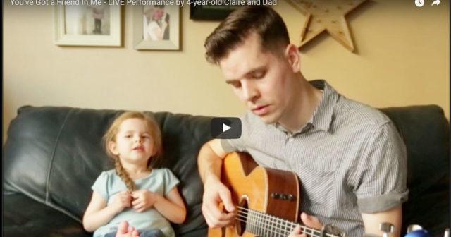 Lyssna till Claires, 4, fantastiska sång med sin pappa