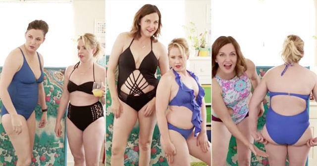 Mammorna provar trendiga badkläder –för att visa hur galet opraktiska de är!