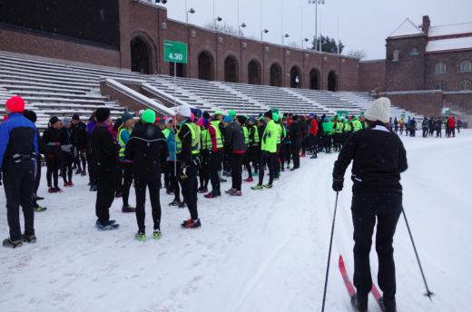 Idag fick vi samsas med skidåkare inne på Stockholm Stadion.