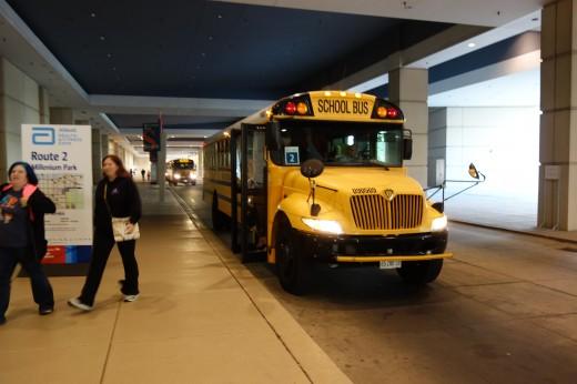Bussen som tog oss till mässan.