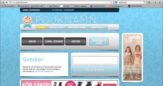 Ett tecken från pojknamn.com