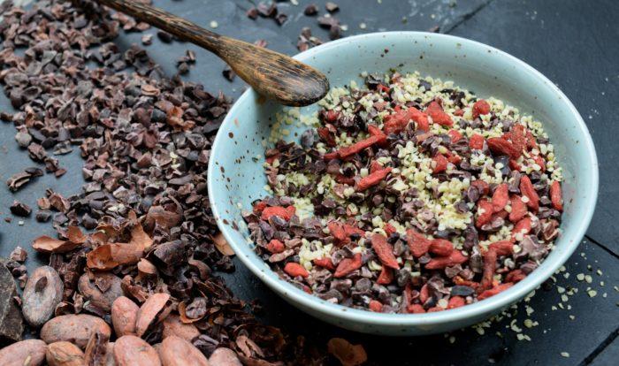 Supermatsbladning gojibar kakaonibs hampafron