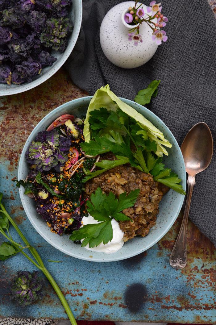 Vegangryta Med Linser och aubergine