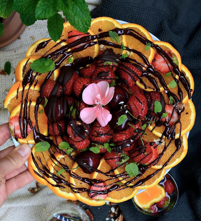 fruktfat med smalt choklad