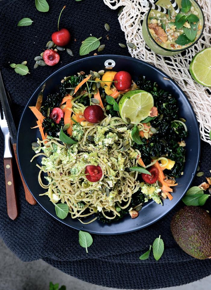 vegetariskt med bönpasta och fetaost