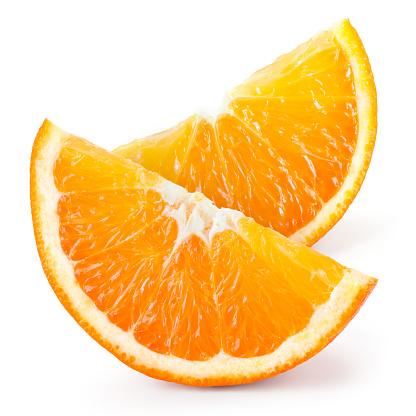 Orange fruit. Slices isolated on white