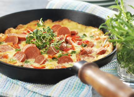 Meny-0905-Stingig-omelett med kryddstark korv